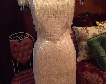 Vintage Sequin Fringe beaded Dress/Western/Fashion/Size Medium