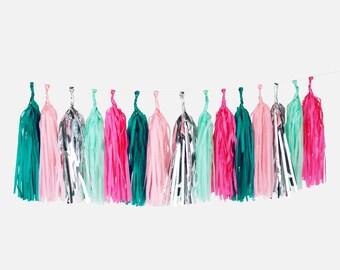 Tassel garland - FLAMINGO colors : cyclamen, pink, aqua green and silver foil colors.