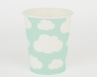 8 mint paper cups with clouds details