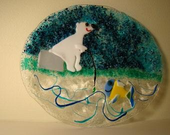 Polar bear fishing, serving platter, serving tray, for the fisherman, Polar bear platter,whimsical platter, for him, for her, table accent
