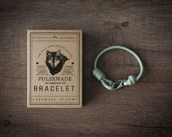 Men's bracelet-silver grey womens Unisex Paracord 550-Pulsemade Slim collection-Handmade paracord bracelet silver grey Mens/Womens