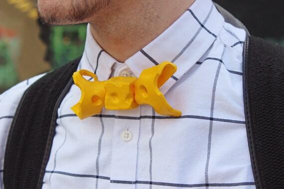 Kaas strikje Bowtie melk koe Nederlands leuk ontwerp ontwerper Rommydebommy herenkleding Mensstyle accessoires mannen sieraden geel