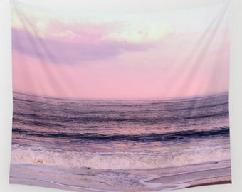 Tapestry - sunset tapestry, pink wall tapestry, ocean photo tapestry, beach tapestry wall hanging extra large art, boho purple tapestry wave