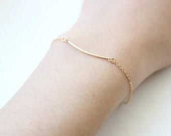 Curved Noodle Bracelet // 14k Gold Fill Tube Bracelet