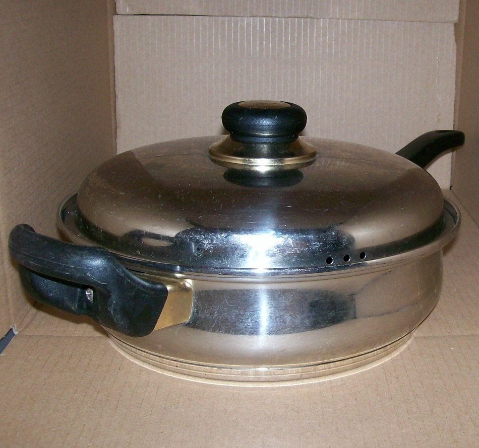 Heavy Equipment Belly Pan : Vintage korean platinum belly cookware covered skillet frying