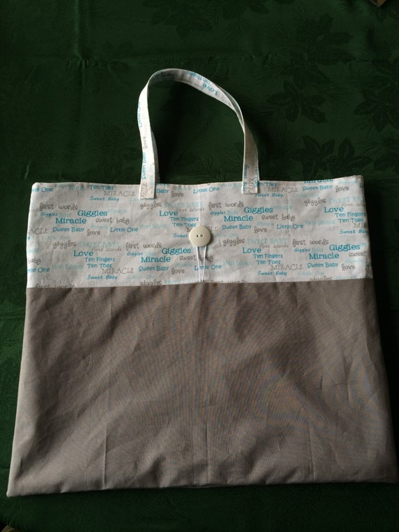Sweet Baby Blue & Grey Cloth Roll-up Tote Bag