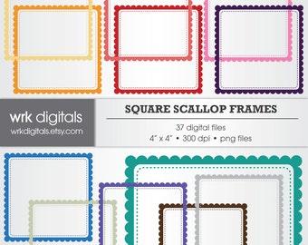 Square Scalloped Frame Clip Art Digital Pack, Digital Scrapbooking, Instant Download