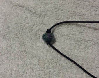 3MM Black Leather Necklace w/Gorgeous 16MM Boro Bead