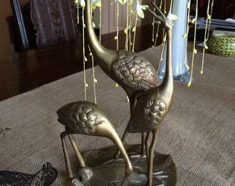 METAL CRANE,Brass Crane,Crane Art,Metal Cast,Table Cranes,Decorative Cranes,Gold Brown Cranes,Crane Sculpture,Crane Cast,Crane Figure