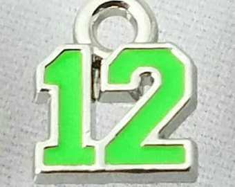 Seahawks inspired silvertone bright green number 12 charm