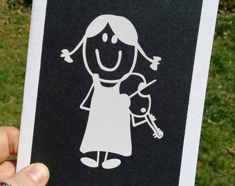 Violin Player Vinyl Sticker Greeting Card // Black and White