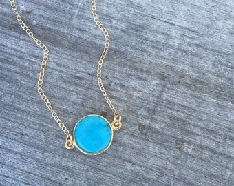 Gold Vermeil Turquoise Necklace- Round Turquoise Necklace -Minimalist Necklace-Dainty Necklace -Petite Necklace -Layering necklace