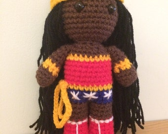African American Wonder Woman Amigurumi Figure Doll with tiara and lasso of truth