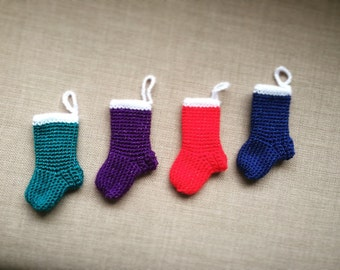 Mini Christmas Stocking Decoration - Set of five in various colours