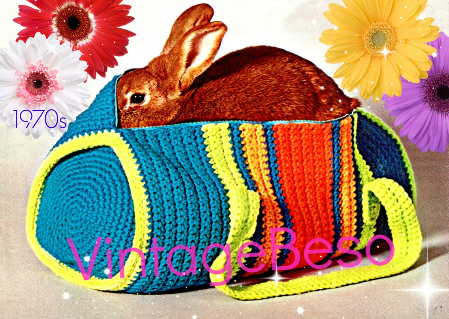 Instant Download PDF Pattern Bag Crochet Pattern 70s Duffle