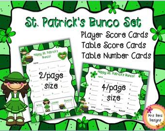St. Patrick's Bunco Card Set