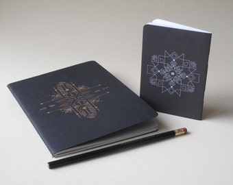 Notebook with  gold\black foil & black mini notebook - FREE gift pencil -  unique paper goods - gift set