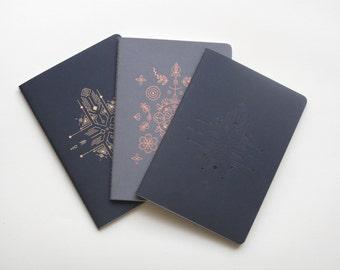 Notebooks  Gift Set , 3 Notebooks , yoga and meditation practice blank notebook