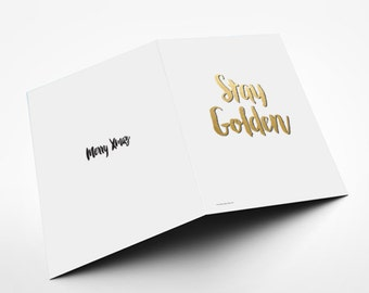 Printable Download File , christmas card, merry xmas - stay glden, cut and fold, Minimalist Quote Art , holiday spirit - diy
