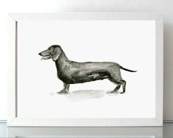 Dachshund Painting - Giclee Print - Dog Art Dachshund Drawing Animal painting - sumi e style - aquarelle dog - Zen drawing - Dujardin