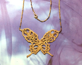 "Hand-made crochet ""antique gold"" look thread and seed bead butterfly necklace."