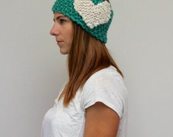 Knit Heart Headband Two-Tone Ear Warmer