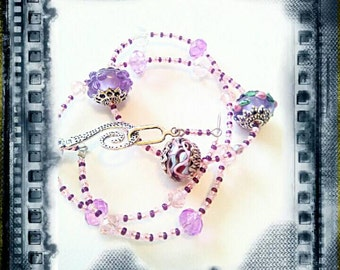 Purple lampwork beads handmade beaded necklace czech glass beads purple handmade gifts for Mom purple glass beads beading necklace pink gift
