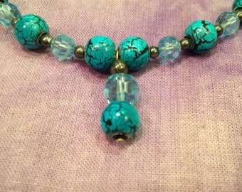 Turquoise Treasure - Handmade Upcycled Necklace and Earring Set