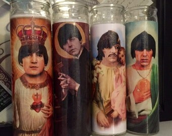 St Beatles John Paul George Ringo Prayer Candle