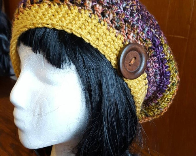 Handmade crochet sunset slouchy hat