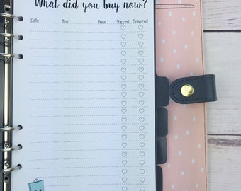 A5 Planner Insert - Purchase Log