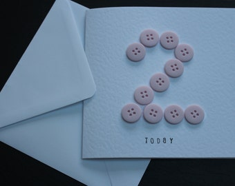 Age birthday cards with button detail