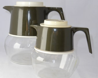 Vintage JAJ pyrex dark green and cream coffee set - original from the 70's