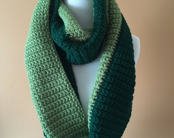 Green Two-Toned Infinity Scarf, Chunky Infinity Scarf