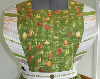 Olive Checked Veggie pinafore apron