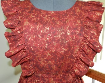 Red and Gold Leaf pinafore apron