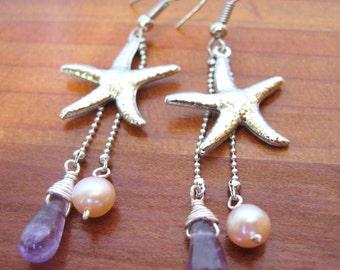 Silver Starfish Earrings, Starfish Dangle Earrings, Starfish & Pearl Earrings, Amethyst Earrings, Beach Earrings, Beach Jewelry, Beach Boho