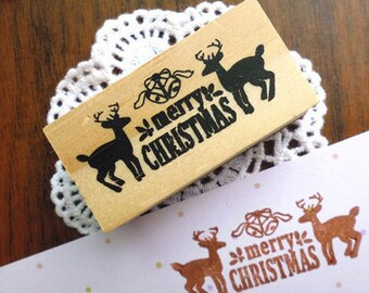 Lovely Merry Christmas With Deers Wooden Stamp/Holiday Scrapbooking Stamp/1PC
