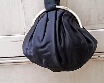 1950 Vintage Black Satin Harry Levine Evening Bag