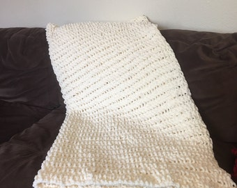 Hand knitted , soft, cream color afghan, throw.