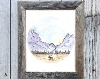 8x10 Teton Elk Watercolor Art Print,  Circle Art, Rustic Art, Cabin Chic Art, Rustic Chic Art, Elk Watercolor