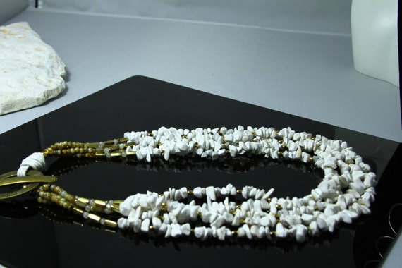 Multi strand Howlite gemstone necklace