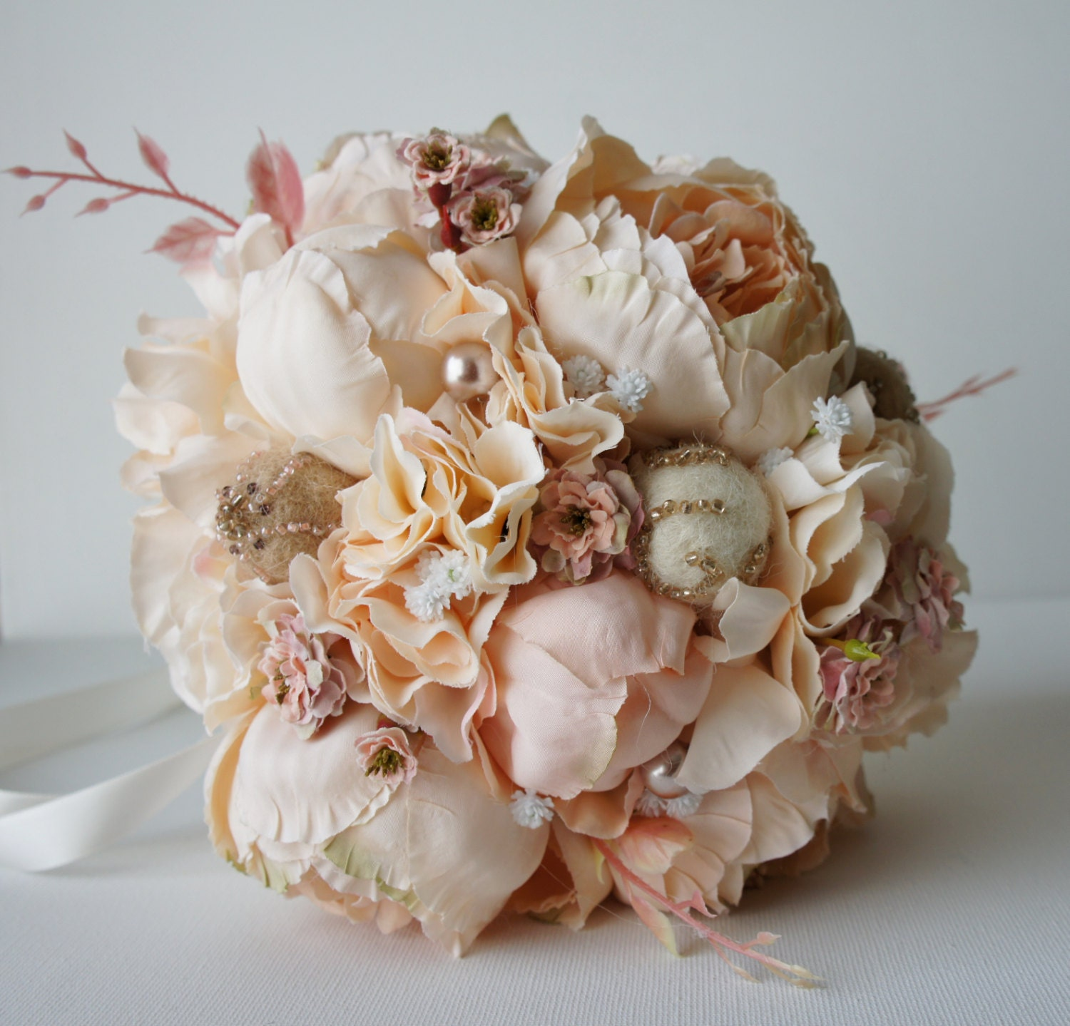 Peony Bridal Bouquet Silk Wedding Flowers Champagne Wedding