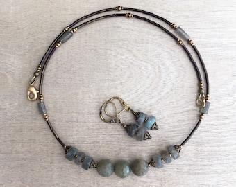Necklace and earrings set Labradorite necklace  Blue flash labradorite Bohemian necklace