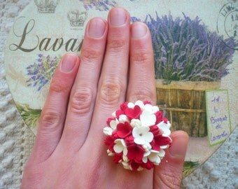 FREE SHIPPING White floral boho ring White flower boho ring Red flower ring Red floral ring White red jewelry boho ring wedding White ring