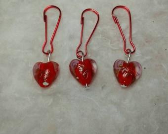 Lampwork Heart zipper pulls