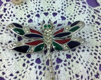 Vintage Dragonfly Brooch, Enamel Brooch, Rhinestone Brooch, Emerald Paste Gemstones, Vintage Gift