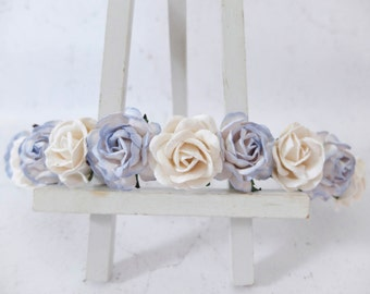 Light blue and white roses headpiece - flower headpiece - flower hair crown - hair garland