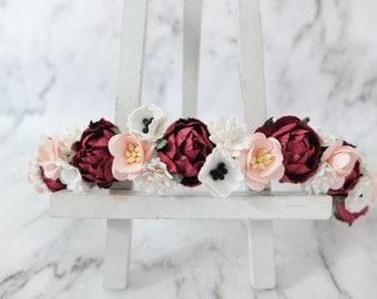Burgundy blush white flower crown - wedding floral hair wreath - flower headpiece - flower hair accessories for girls