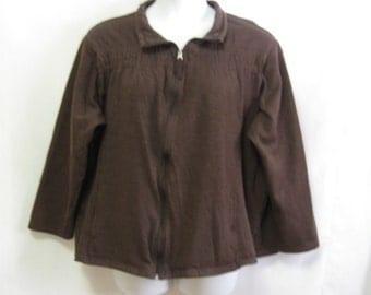 Vintage Womens 3X Brown Zip Front Sweatshirt with Gathers Above Chest has Pockets Soft Very Nice Womens 3X  See Details